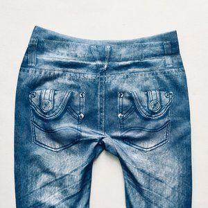 Bottoms - Super Distressed Faux Jean Leggings